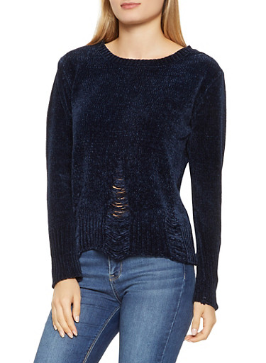 Distressed Crew Neck Sweater,NAVY,large