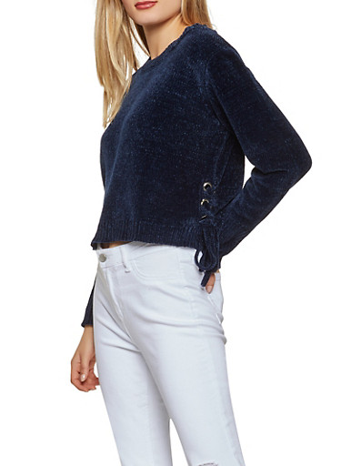 Lace Up Side Chenille Sweater,NAVY,large