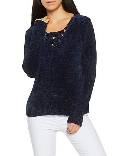 Long Sleeve Lace Up Sweater,NAVY,large