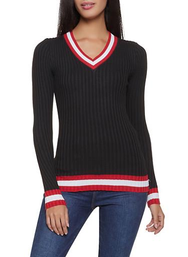 Striped Trim V Neck Sweater,BLACK,large