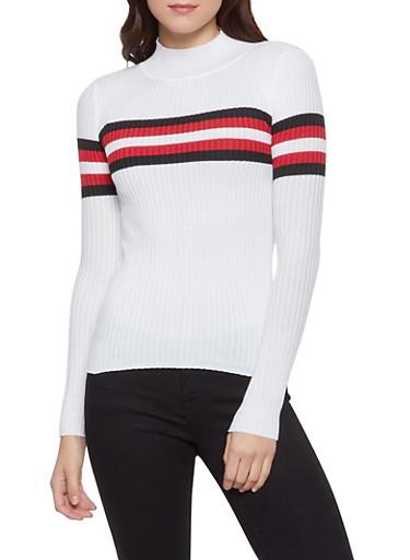 Stripe Detail Rib Knit Sweater,WHT-BLK,large