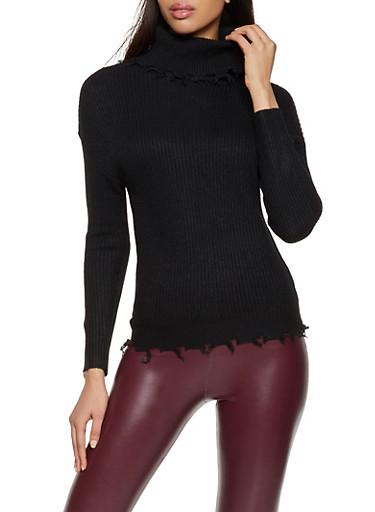 Distressed Hem Sweater,BLACK,large
