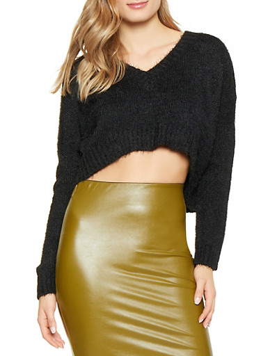Cropped Feathered Knit Sweater,BLACK,large