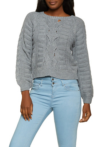 Cable Knit Long Sleeve Sweater,HEATHER,large
