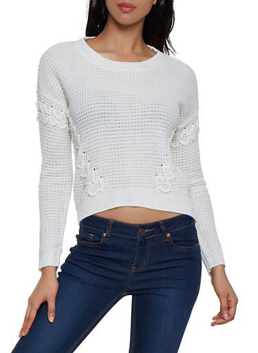 Crew Neck Lace Up Sweater,IVORY,large