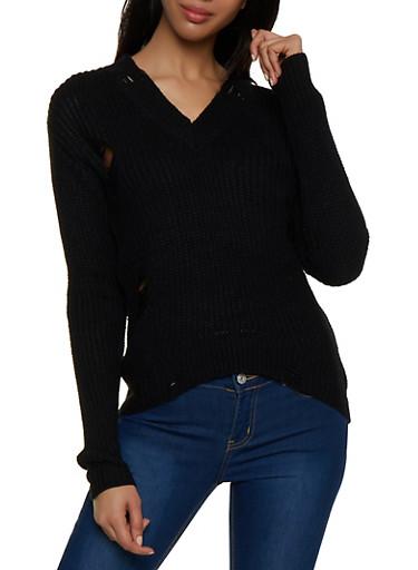 Distressed V Neck Sweater,BLACK,large