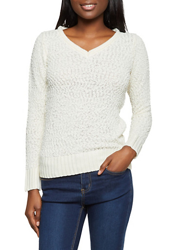 Popcorn Knit V Neck Sweater,IVORY,large