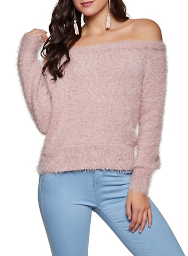 Fuzzy Off the Shoulder Sweater,MAUVE,large
