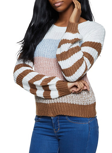 Striped Chunky Knit Crew Neck Sweater,TAN,large