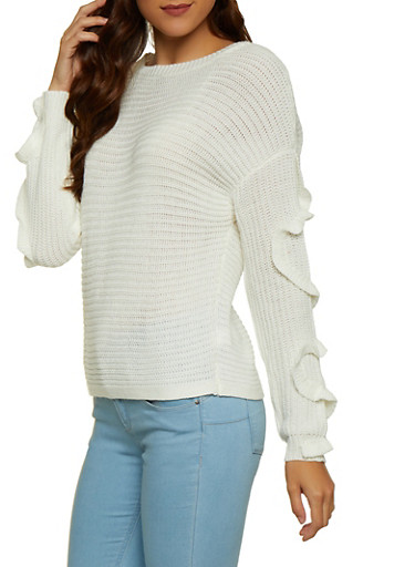 Ruffled Sleeve Sweater,IVORY,large