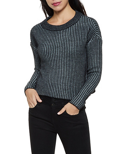 Ribbed Scoop Neck Sweater,BLACK,large