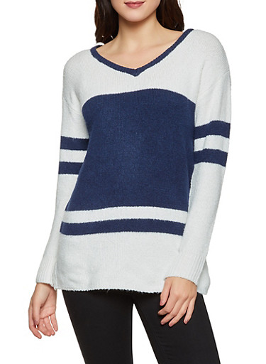 Contrast Trim Color Block Sweater,NAVY,large