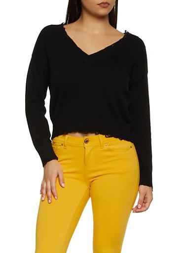 Frayed V Neck Sweater,BLACK,large