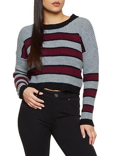 Multi Striped Crew Neck Sweater,GRAY,large