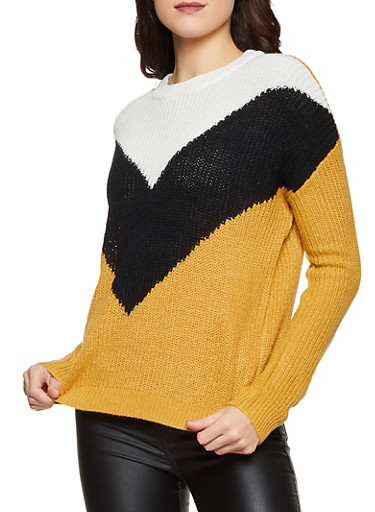 Chevron Color Block Sweater,BLACK,large