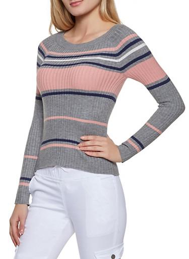 Crew Neck Striped Sweater | 1020054261472,HEATHER,large