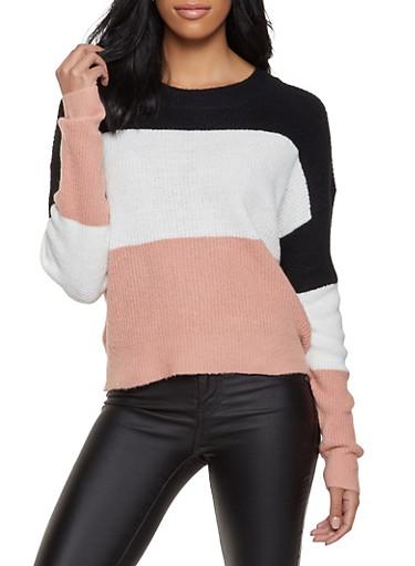 Crew Neck Color Block Sweater,BLACK,large