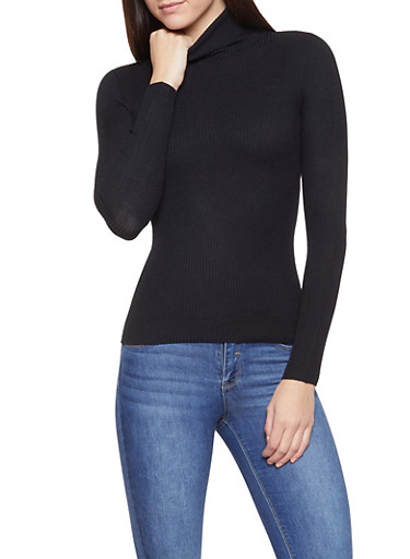 Ribbed Knit Turtleneck Sweater,BLACK,large