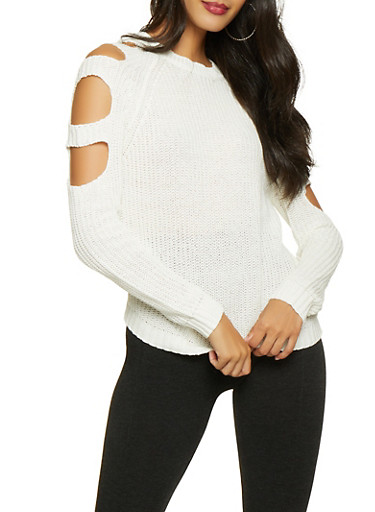 Caged Sleeve Sweater,WHITE,large