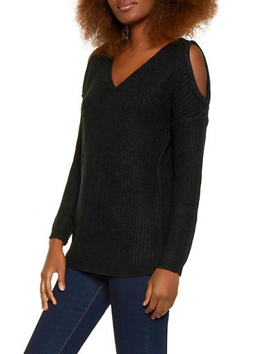 Cold Shoulder V Neck Sweater,BLACK,large