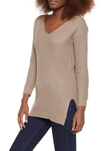Caged Back V Neck Sweater,KHAKI,large