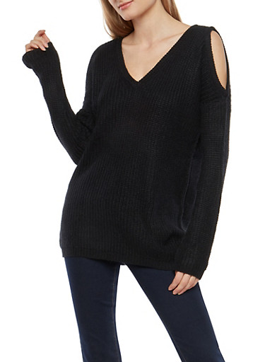 Long Sleeve Cold Shoulder Sweater,BLACK,large