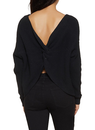 Scoop Neck Twist Back Sweater,BLACK,large