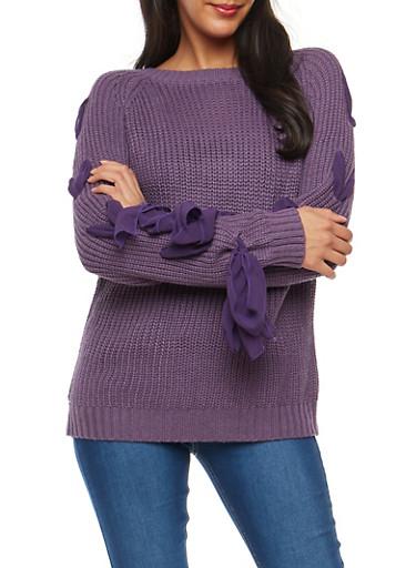 Chiffon Lace Up Sleeve Knit Sweater,LT PURPLE,large
