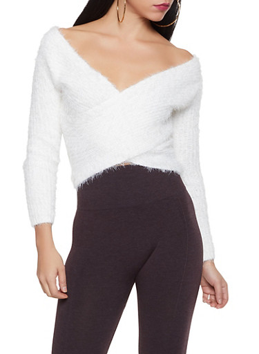 Feathered Knit Faux Wrap Sweater,IVORY,large
