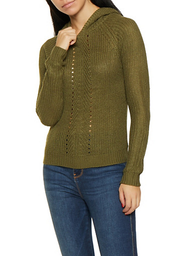 Hooded Knit Sweater,OLIVE,large
