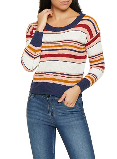 Striped Long Sleeve Sweater,PINK,large