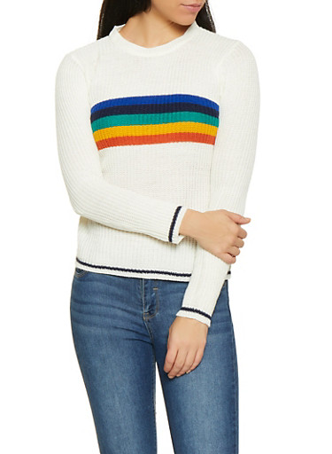 Rainbow Stripe Detail Sweater,IVORY,large