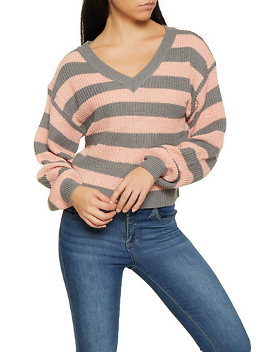 Striped V Neck Sweater,GRAY,large