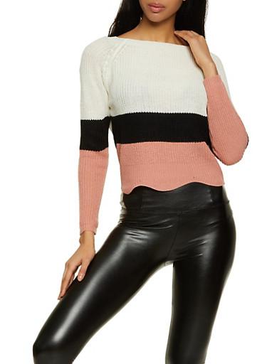 Color Block Scoop Neck Sweater,MAUVE,large