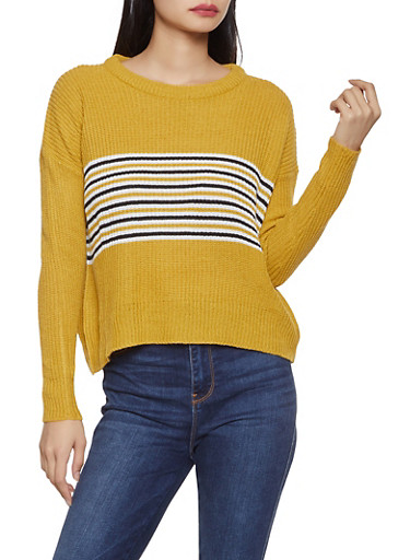 Stripe Detail Crew Neck Sweater,MUSTARD,large