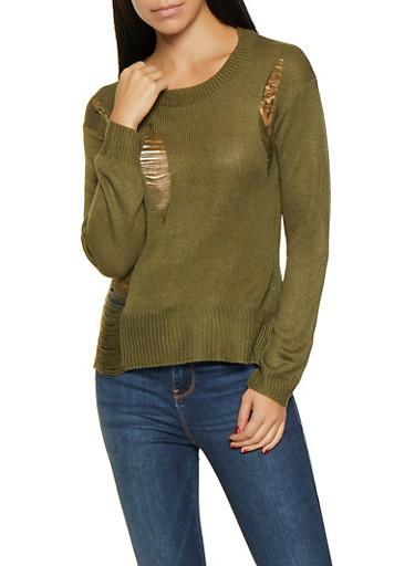 Destroyed Detail Sweater,OLIVE,large