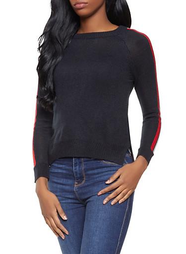 Striped Sleeve Crew Neck Sweater,BLACK,large