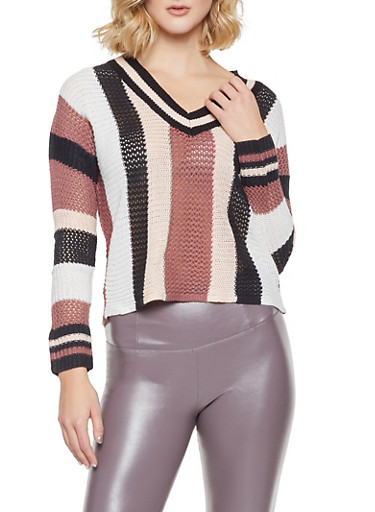 Striped V Neck Sweater,MAUVE,large