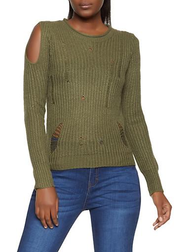 Slashed Knit Cold Shoulder Sweater,OLIVE,large