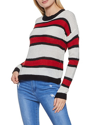 Long Sleeve Knit Striped Sweater,IVORY,large