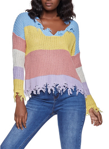 Frayed Color Block Sweater,BABY BLUE,large