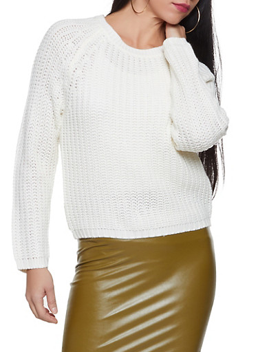 Cable Knit Sweater,IVORY,large