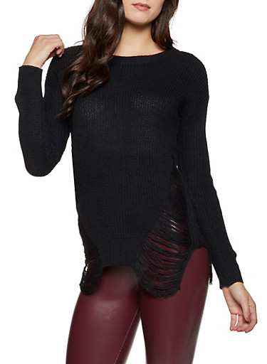 Distressed Knit Tunic Sweater,BLACK,large