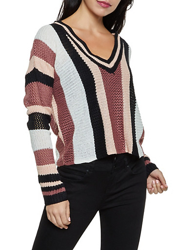 Striped V Neck Pointelle Sweater,MAUVE,large