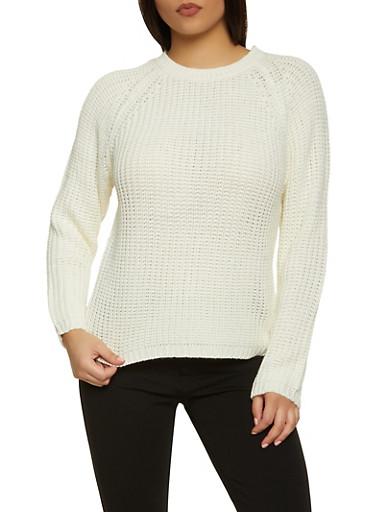 Long Sleeve Knit Sweater,IVORY,large
