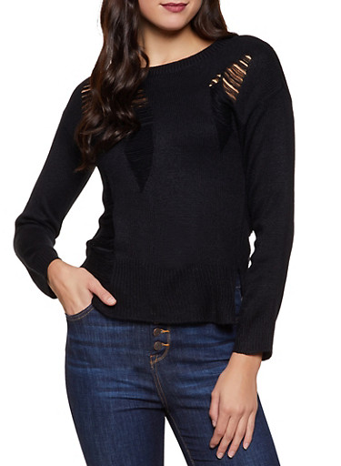 Long Sleeve Distressed Sweater,BLACK,large
