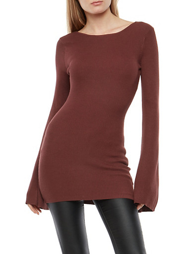 Rib Knit Bell Sleeve Scoop Back Sweater,BURGUNDY,large