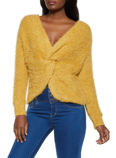 Twist Front Eyelash Knit Sweater,HEATHER,large
