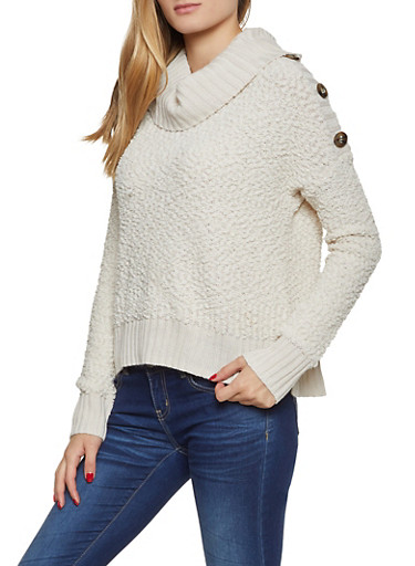 Popcorn Knit Cowl Neck Sweater,IVORY,large