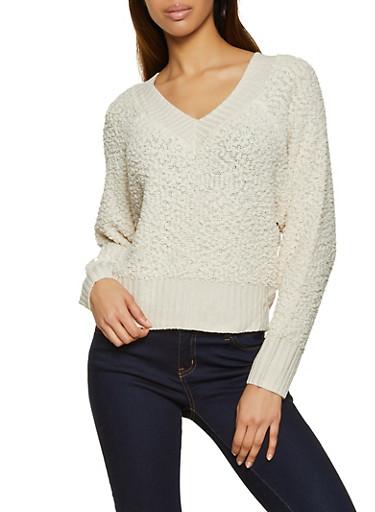 V Neck Popcorn Knit Sweater,IVORY,large